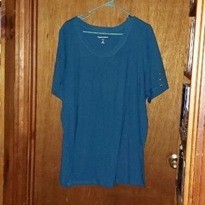 Woman Within Blue Teal Round Neck Shirt Top